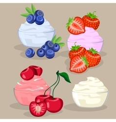 set of dessert with berries vector image