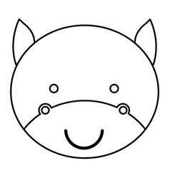 silhouette caricature face cute bull animal vector image