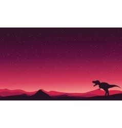 Tyranosaurus-Rex on hills landscape vector image vector image