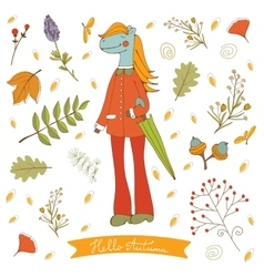 Hello autumn elegant card with cute horse vector image