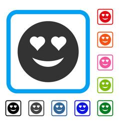 Love smiley framed icon vector