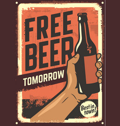 male hand holding beer bottle vector image