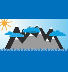 mountains in blue ocean vector image
