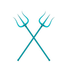 Two crossed tridents in blue design vector