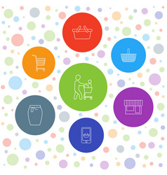 7 shopping icons vector image