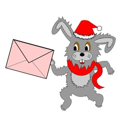A funny christmas hare running with a letter vector