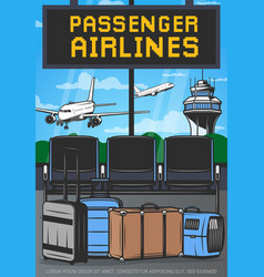 Airport terminal lounge and airplanes air travel vector