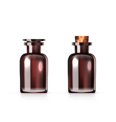 Amber glass bottle flask for natural cosmetics vector