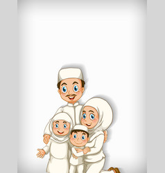 Background template design with muslim family vector