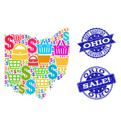 Best shopping collage of mosaic map of ohio state vector