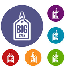 Big sale tag icons set vector