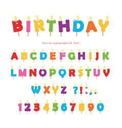 Birthday candles colorful font design bright vector