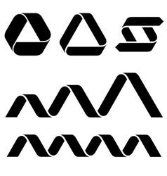 black ribbon symbols vector image