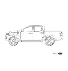 Blueprint suv contour drawing car vector