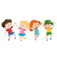 Boys and girls holding hands vector
