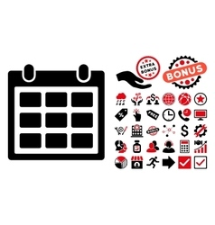 Calendar Flat Icon with Bonus vector image
