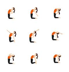 Camel pose variations yoga asanas set vector