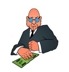 Cartoon business man in a suit with money vector