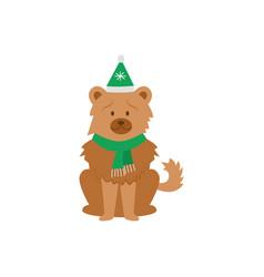 cartoon chow chow dog wearing green christmas hat vector image