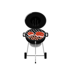 charcoal barbecue grill with grilled steaks vector image