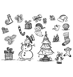 christmas hatched sketch doodles vector image