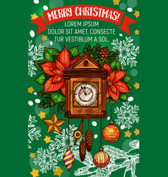 christmas holidays clock greeting card vector image