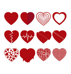 collection of red hearts icons set vector image