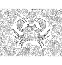 coloring page ornate crab and sea wave curl vector image