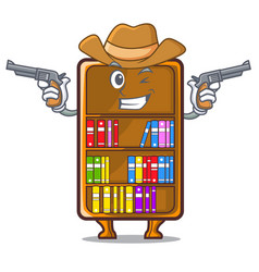 Cowboy mascot bookcase beside the study desk vector