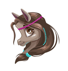 Cute cartoon little horse face vector