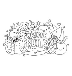 Cute fruits vector