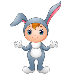 cute girl in rabbit costume vector image