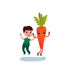 cute little boy jumping with happy giant carrot vector image