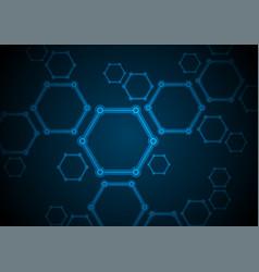 dark blue abstract hexagon molecules tech vector image