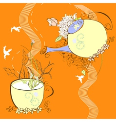 decorative background with cup and teapot vector image