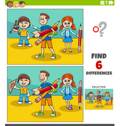differences educational game with cartoon school vector image