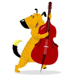dog with double bass cute dog musician plays a vector image