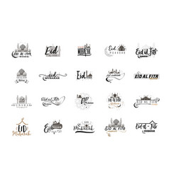 Eid mubarak badge design sticker stamp vector