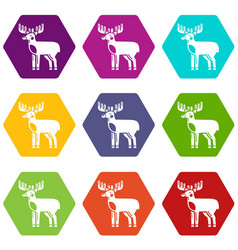 elk icons set 9 vector image