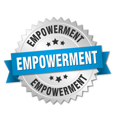 Empowerment round isolated silver badge vector