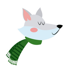 Face fox with a scarf christmas animal vector