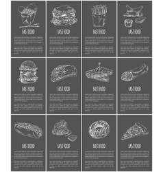 fast food posters set meal vector image