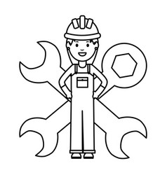 Female builder worker with helmet and wrench keys vector