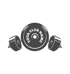 fitness or athletic club emblem with barbell vector image
