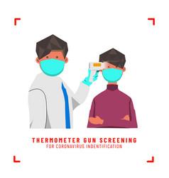 Flat doctor screening gun thermometer to boy vector