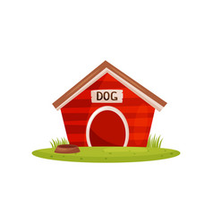 flat icon of bright red wooden dog house vector image
