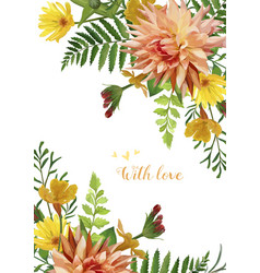 Flower square card design yellow calendula garden vector
