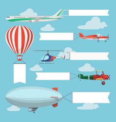 Flying planes pulling advertising banners vector