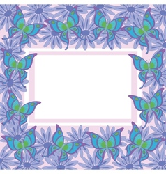 Frame of flowers and butterflies vector image