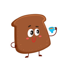 funny smiling dark brown bread slice character vector image